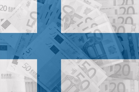 transparent finnish flag with euro banknotes photo