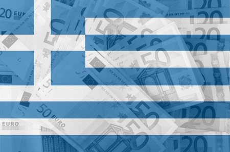 transparent greek flag with euro banknotes photo