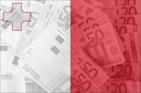maltese: transparent maltese flag with euro banknotes Stock Photo