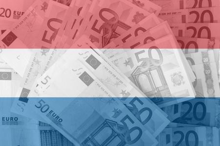dutch flag: transparent dutch flag with euro banknotes