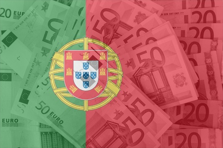 portugese: transparent portugese flag with euro banknotes Stock Photo