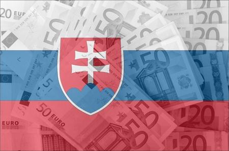 slovakian: transparent slovakian flag with euro banknotes
