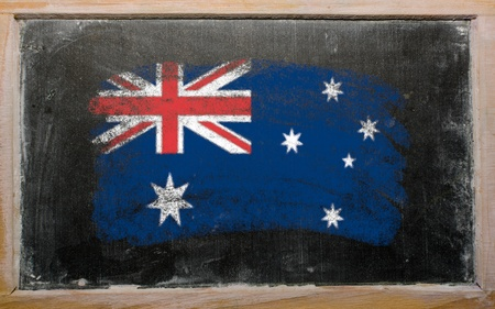 Chalky australian flag painted with color chalk on old blackboard photo