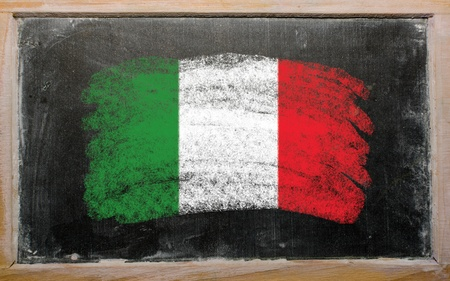 Chalky Italian flag painted with color chalk on old blackboard photo