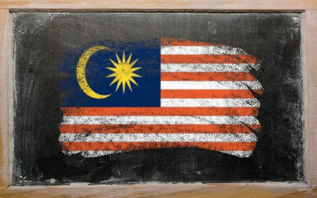chalky: Chalky malaysian flag painted with color chalk on old blackboard