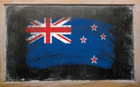 Chalky new zealand flag painted with color chalk on old blackboard Stock Photo - 10605909