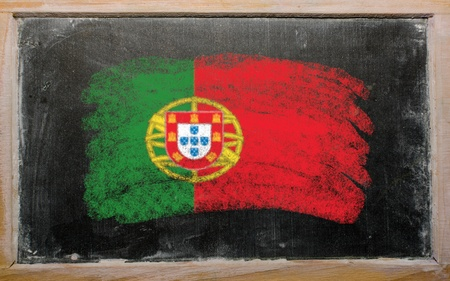 portugese: Chalky portugese flag painted with color chalk on old blackboard