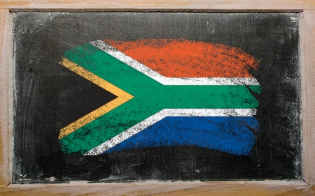 Chalky South african republic flag painted with color chalk on old blackboard Stock Photo - 10605907