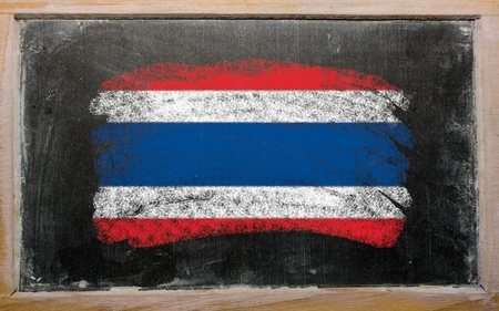 thai language: Chalky thailand flag painted with color chalk on old blackboard Stock Photo