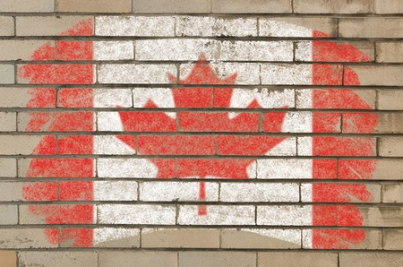 Chalky  canadian flag painted with color chalk on grunge old brick wall photo