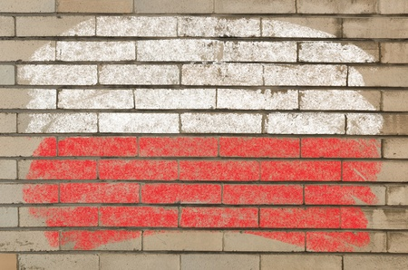 Chalky polish flag painted with color chalk on grunge old brick wall photo