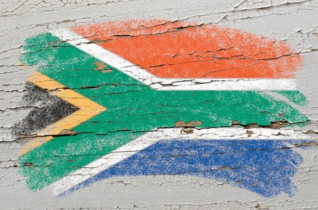 Chalky south, african republic flag painted with color chalk on grunge wooden texture photo