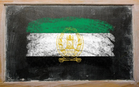 afghan: Chalky afghanistan flag painted with color chalk on old blackboard