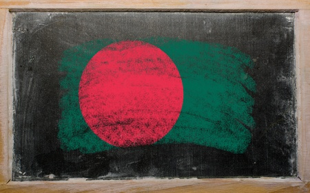 Chalky bangladesh flag painted with color chalk on old blackboard Stock Photo - 10828817