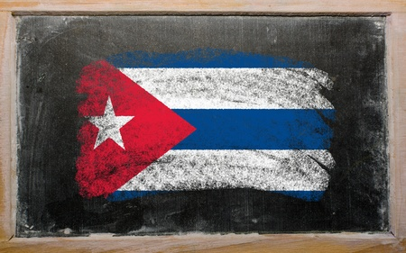 Chalky cuban flag painted with color chalk on old blackboard photo