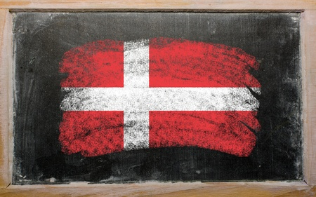 danish flag: Chalky danish flag painted with color chalk on old blackboard