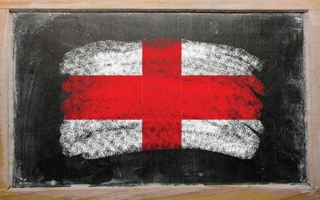chalky: Chalky english flag painted with color chalk on old blackboard