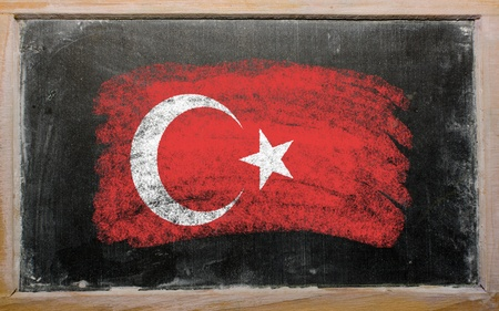 chalky: Chalky turkish flag painted with color chalk on old blackboard