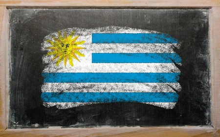 uruguay flag: Chalky uruguay flag painted with color chalk on old blackboard