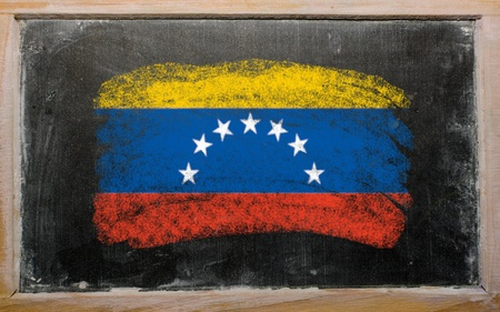 venezuelan flag: Chalky venezuelan flag painted with color chalk on old blackboard