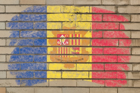 loaded: Chalky andoran flag painted with color chalk on grunge old brick wall Stock Photo