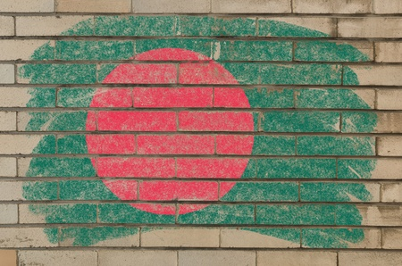 Chalky bangladesh flag painted with color chalk on grunge old brick wall Stock Photo - 10829206