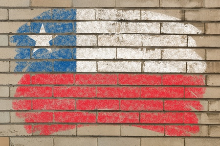 Chalky chile flag painted with color chalk on grunge old brick wall photo