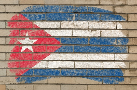 cuban flag: Chalky cuban flag painted with color chalk on grunge old brick wall
