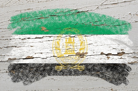 afghan: Chalky afghan flag painted with color chalk on grunge wooden texture Stock Photo