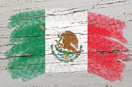 Chalky mexican, flag painted with color chalk on grunge wooden texture