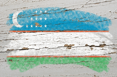 uzbekistan: Chalky uzbekistan flag painted with color chalk on grunge wooden texture