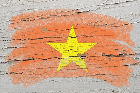 Chalky vietnamese flag painted with color chalk on grunge wooden texture Stock Photo - 10828829