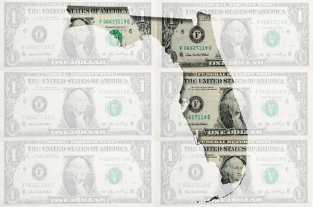 Outlined Florida map of  with transparent background of US dollar banknotes