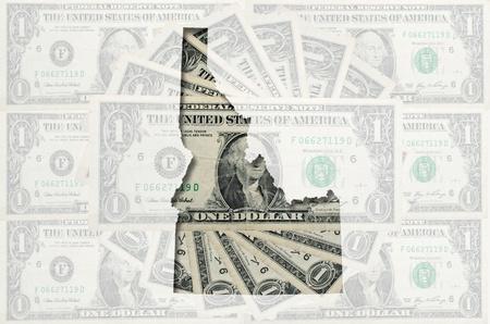 미국 달러 지폐의 투명 배경 가진 윤곽이 idaho지도 스톡 콘텐츠