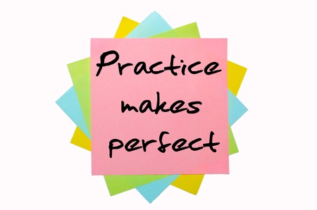 text 'Practice makes perfect' written by hand font on bunch of colored sticky notes photo