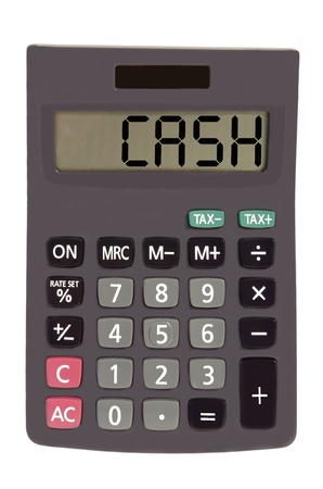 figuring: cash on display of an old calculator on white background