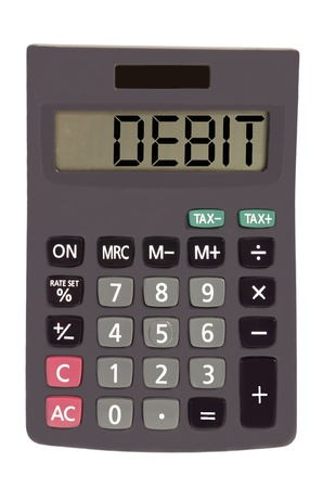 debit on display of an old calculator on white background  photo