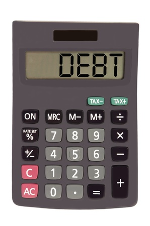 budgetary: debt on display of an old calculator on white background