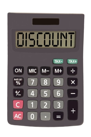 discount on display of an old calculator on white background  Stock Photo