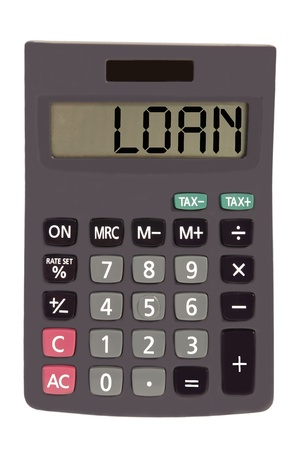 loan on display of an old calculator on white background Stock Photo - 11112147