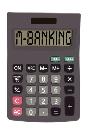figuring: m-banking on display of an old calculator on white background