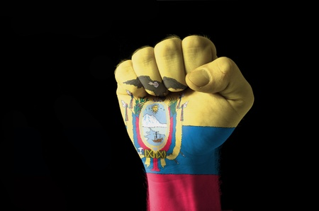 Low key picture of a fist painted in colors of ecuador flag