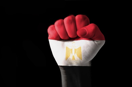 egypt flag: Low key picture of a fist painted in colors of egypt flag