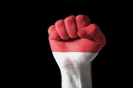 Low key picture of a fist painted in colors of indonesia flag photo