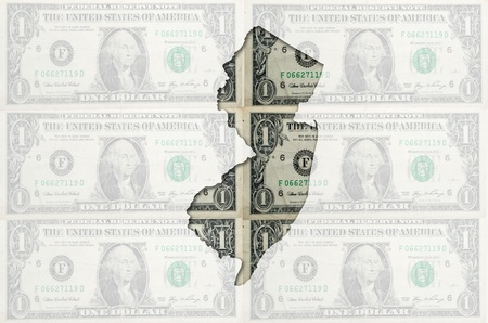jersey: Outlined map of new jersey with transparent background of US dollar banknotes Stock Photo