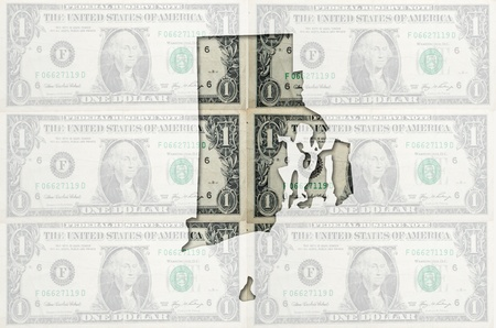 Outlined map of rhode island with transparent background of US dollar banknotes Reklamní fotografie - 11112442