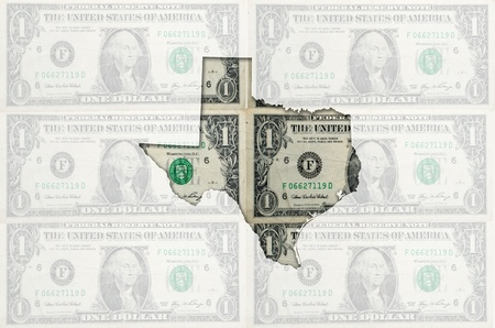 Outlined map of texas with transparent background of US dollar banknotes photo