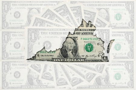 Outlined map of virginia with transparent background of US dollar banknotes photo