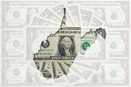 Outlined map of west virginia with transparent background of US dollar banknotes photo