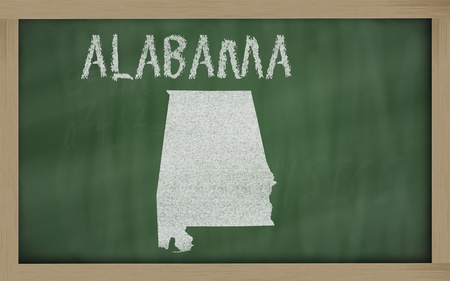drawing of alabama state on chalkboard, drawn by chalk photo
